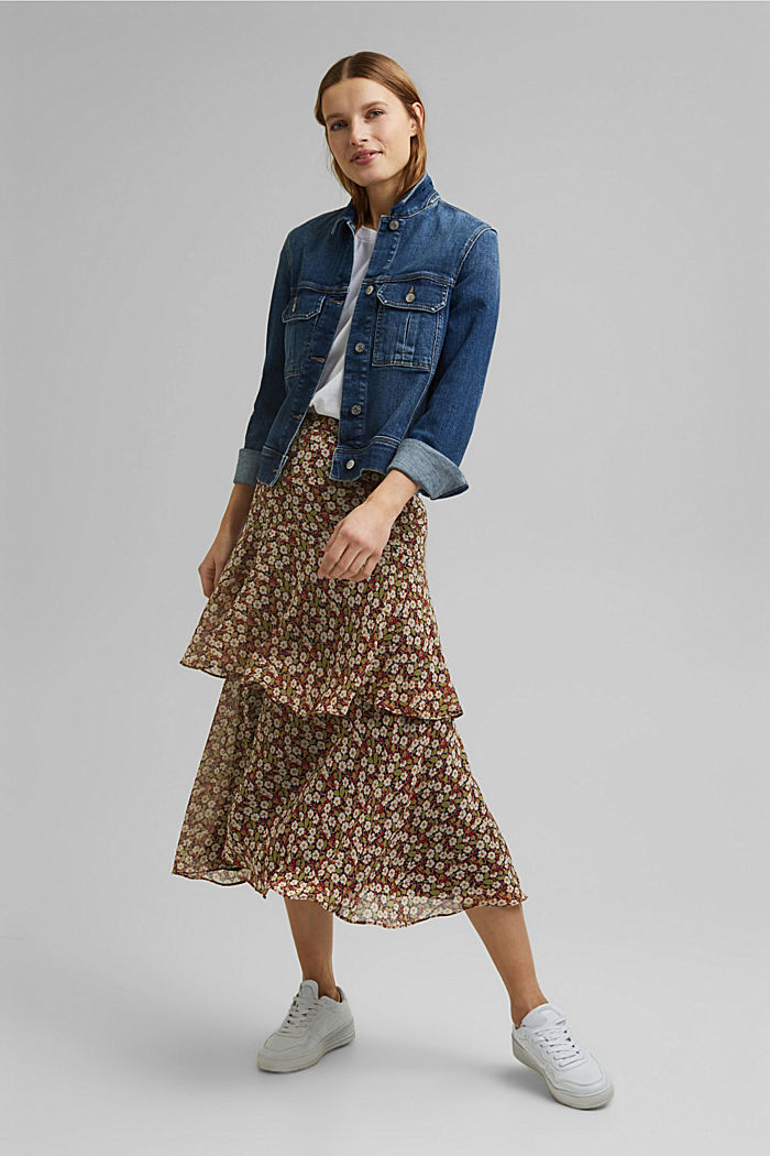Recycled: Flounce midi skirt with a floral print, NAVY, detail image number 1