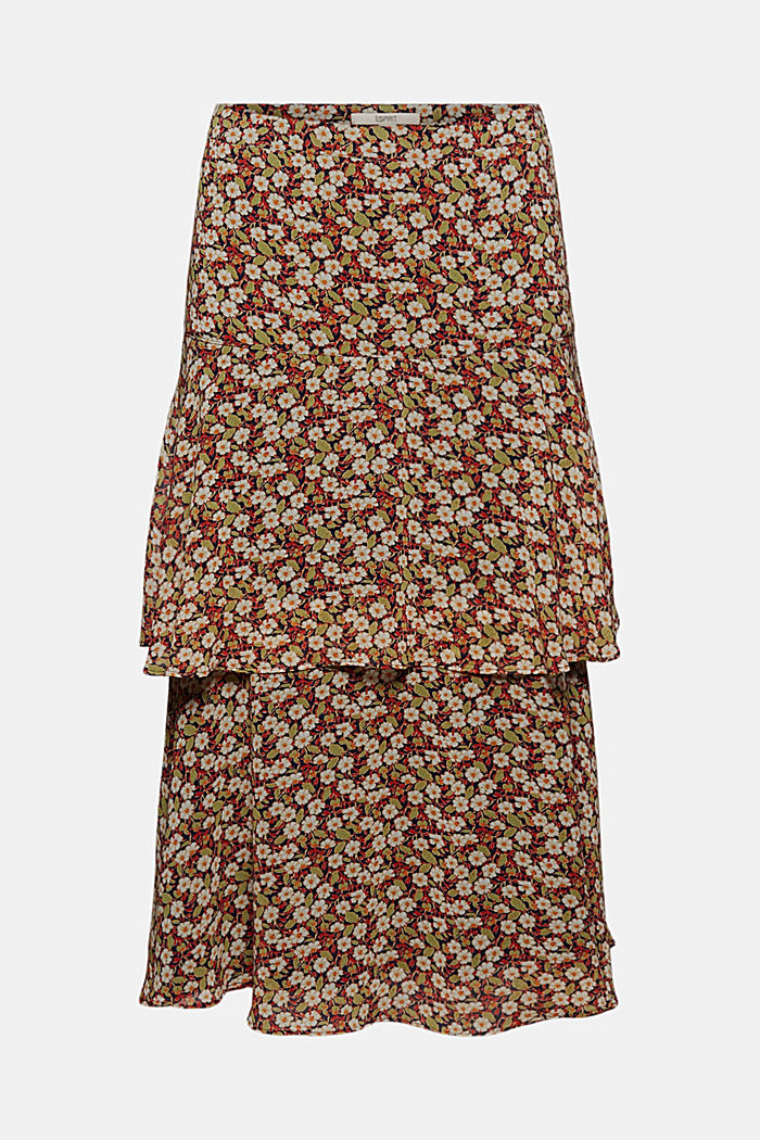 Recycled: Flounce midi skirt with a floral print, NAVY, detail image number 6