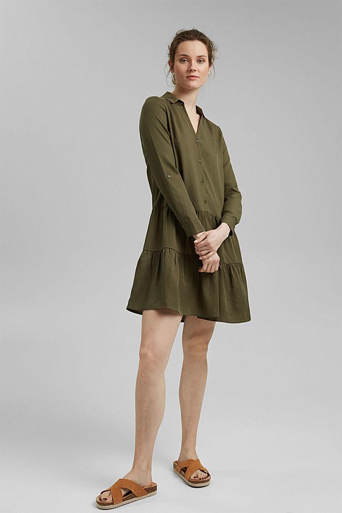 En TENCEL™: vestido camisero con volantes, KHAKI GREEN, detail image number 0