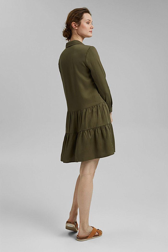 Made of TENCEL™: Shirt dress with flounces, KHAKI GREEN, detail image number 2