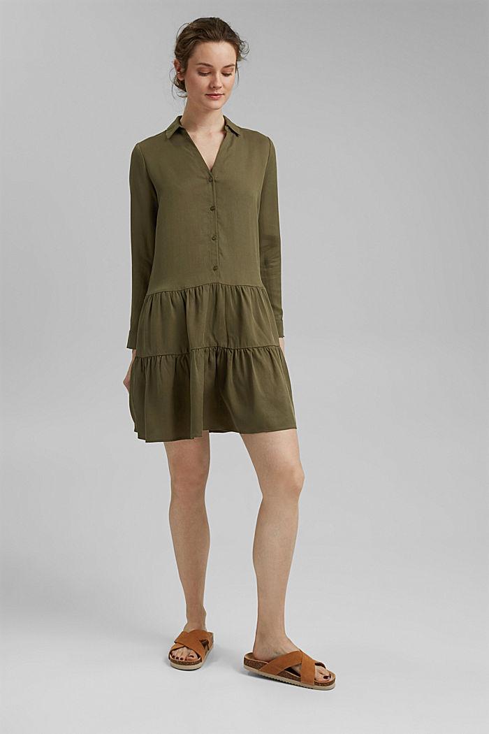 En TENCEL™: vestido camisero con volantes, KHAKI GREEN, detail image number 1