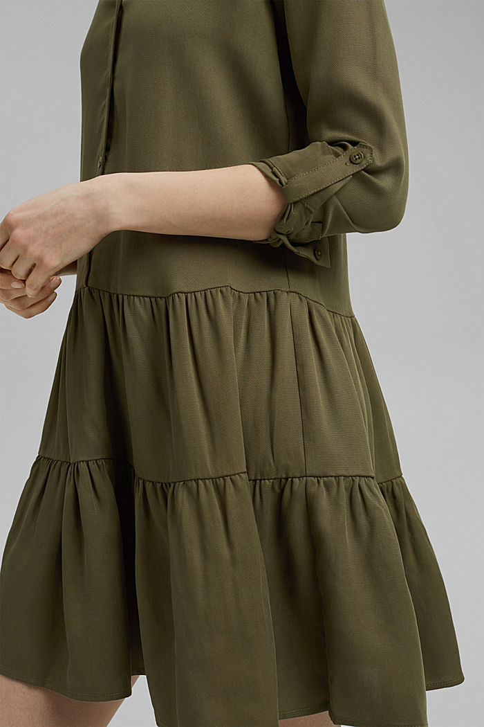 Made of TENCEL™: Shirt dress with flounces, KHAKI GREEN, detail image number 3