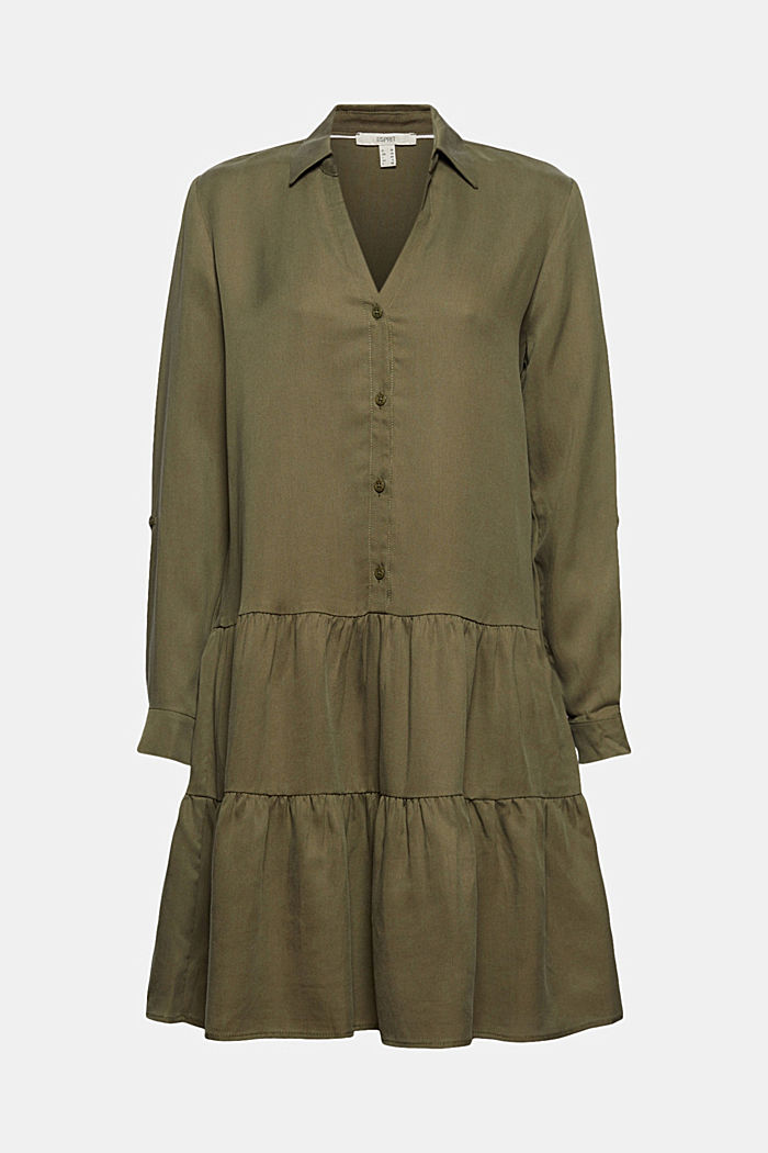 Made of TENCEL™: Shirt dress with flounces, KHAKI GREEN, detail image number 6