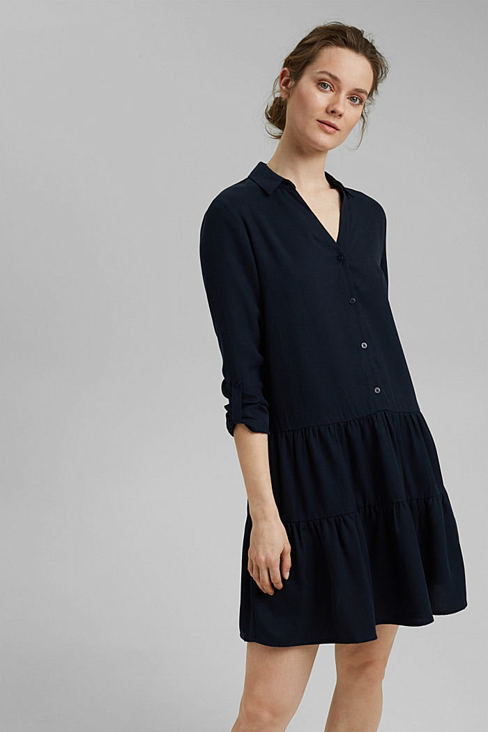 Made of TENCEL™: Shirt dress with flounces, NAVY, detail image number 0