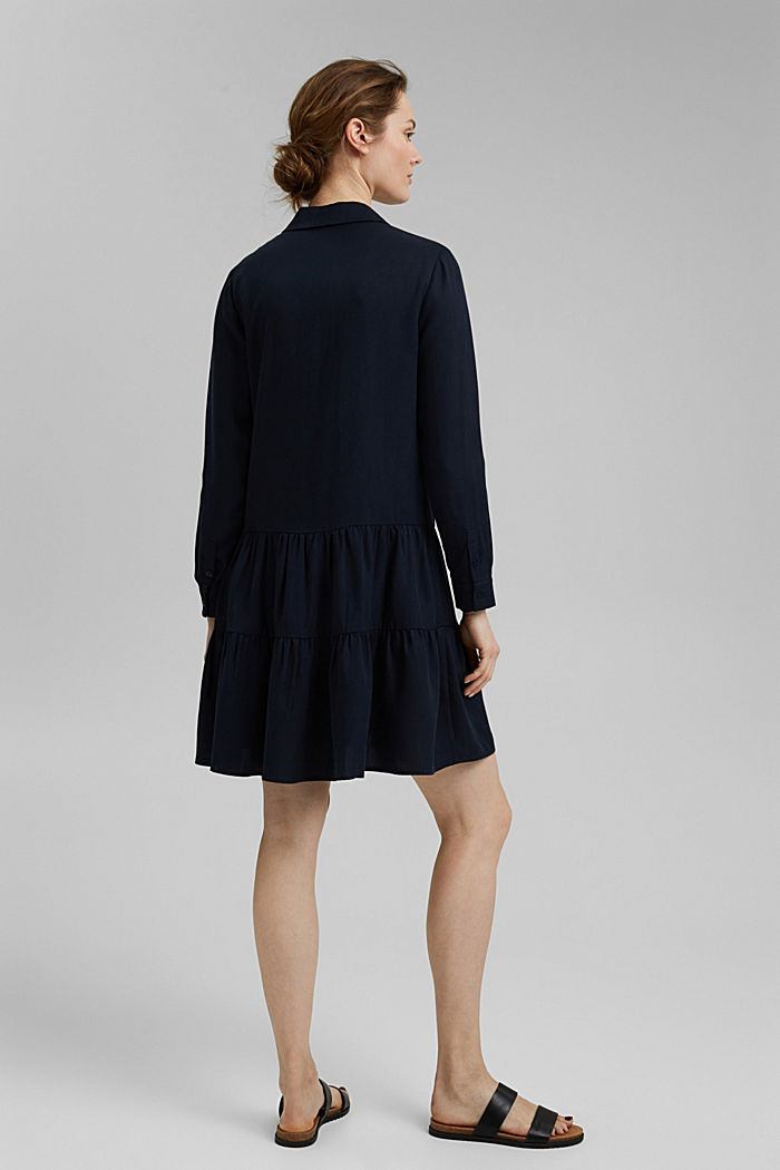Made of TENCEL™: Shirt dress with flounces, NAVY, detail image number 2