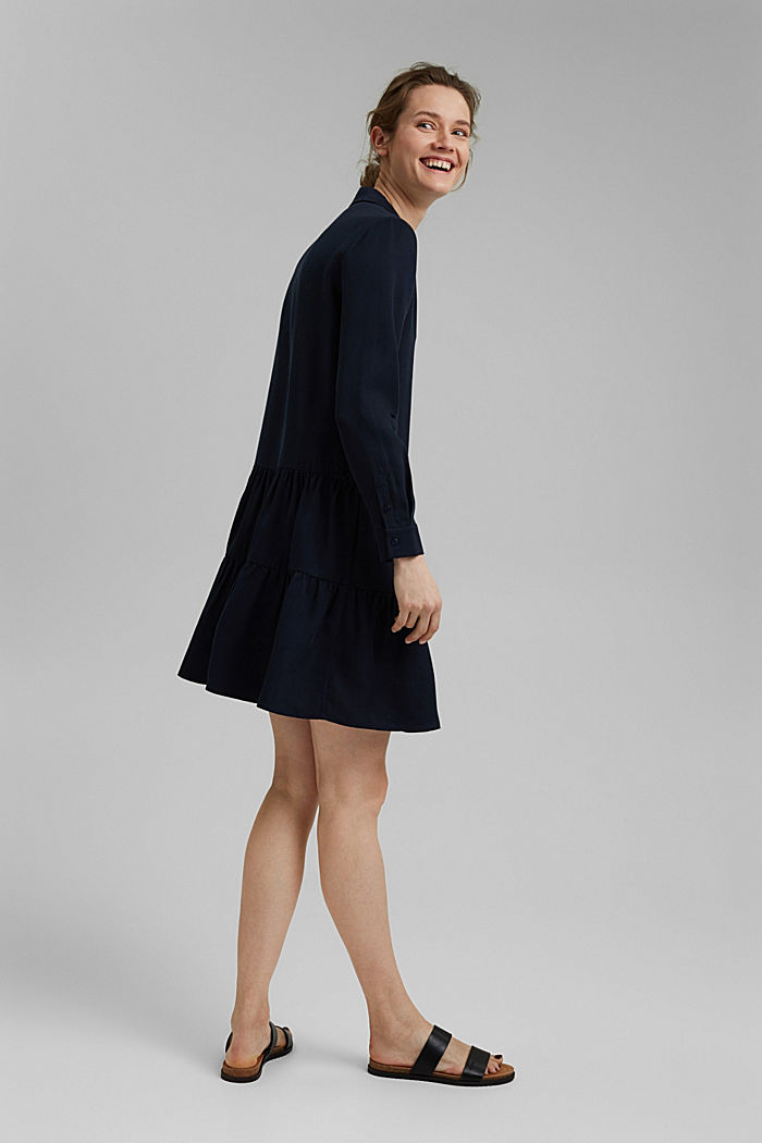 Made of TENCEL™: Shirt dress with flounces, NAVY, detail image number 4