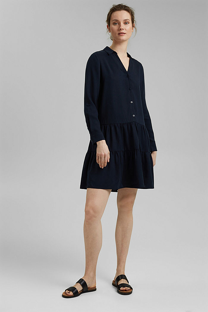 Made of TENCEL™: Shirt dress with flounces, NAVY, detail image number 1