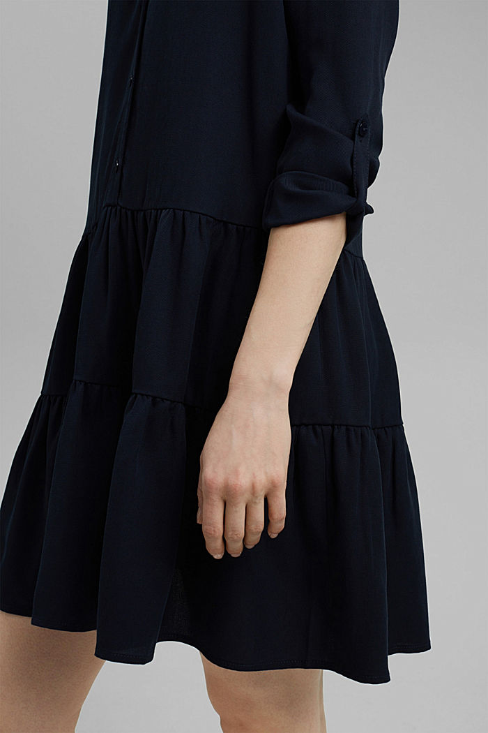 Made of TENCEL™: Shirt dress with flounces, NAVY, detail image number 3