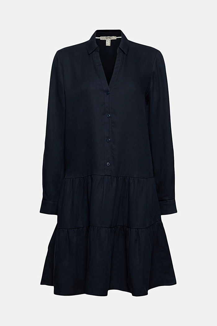 Made of TENCEL™: Shirt dress with flounces, NAVY, detail image number 6
