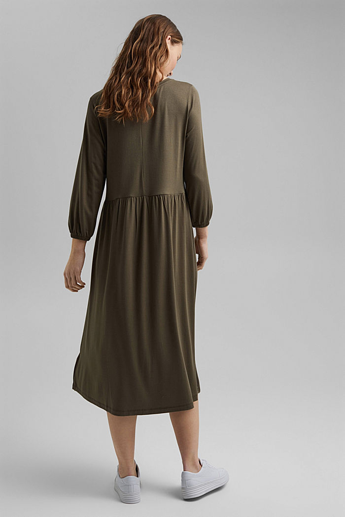 Jersey dress made of LENZING™ ECOVERO™, KHAKI GREEN, detail image number 2