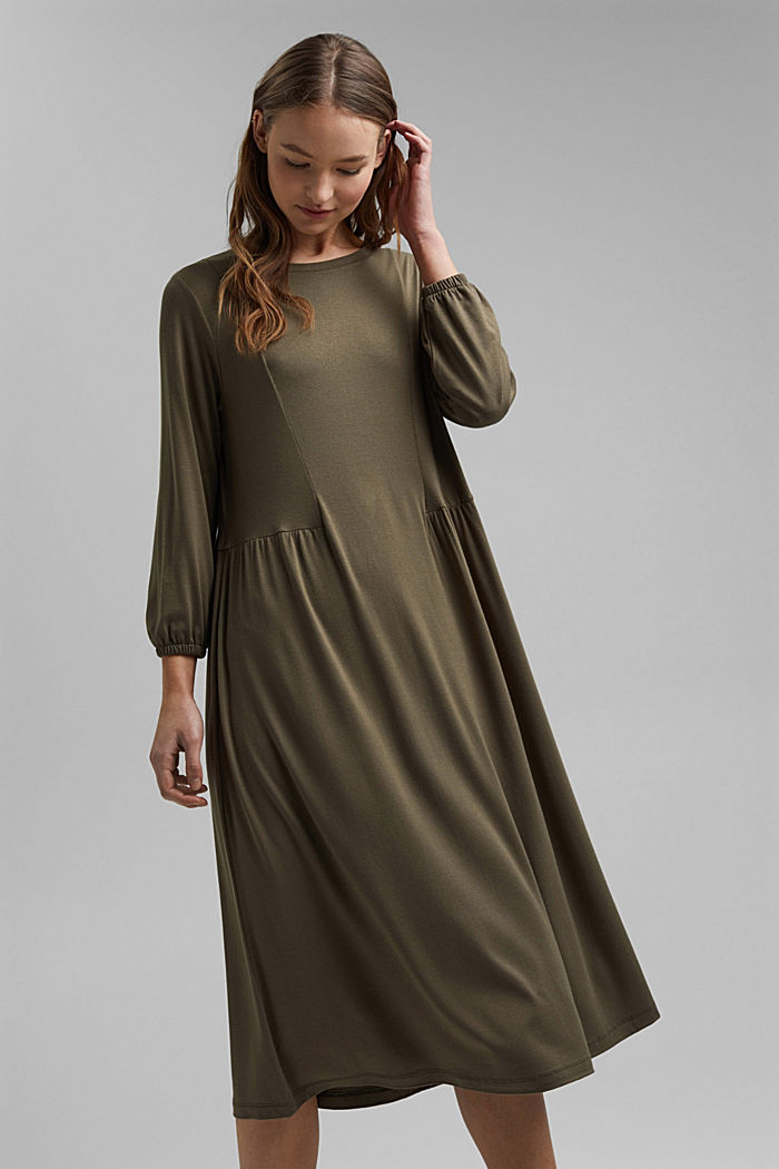 Jersey dress made of LENZING™ ECOVERO™, KHAKI GREEN, detail image number 5