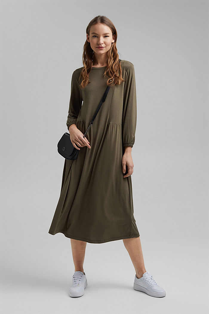 Jersey dress made of LENZING™ ECOVERO™, KHAKI GREEN, detail image number 1