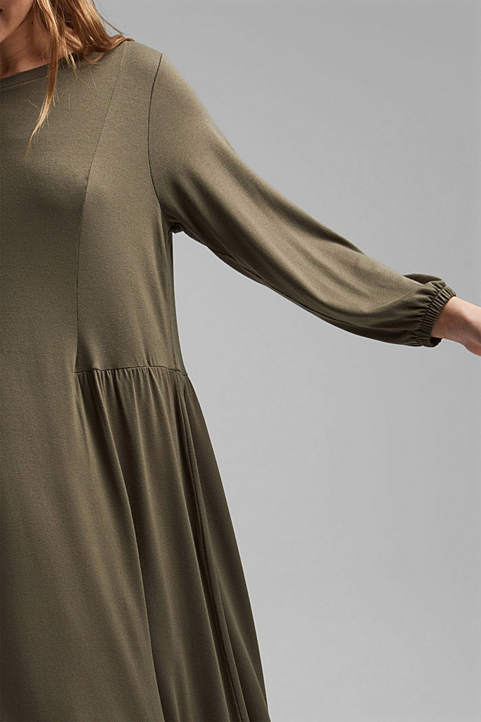 Jersey dress made of LENZING™ ECOVERO™, KHAKI GREEN, detail image number 3