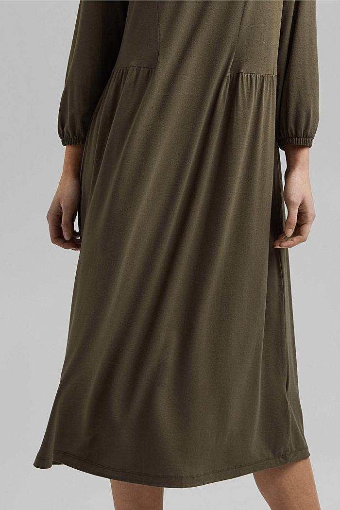 Jersey dress made of LENZING™ ECOVERO™, KHAKI GREEN, detail image number 6