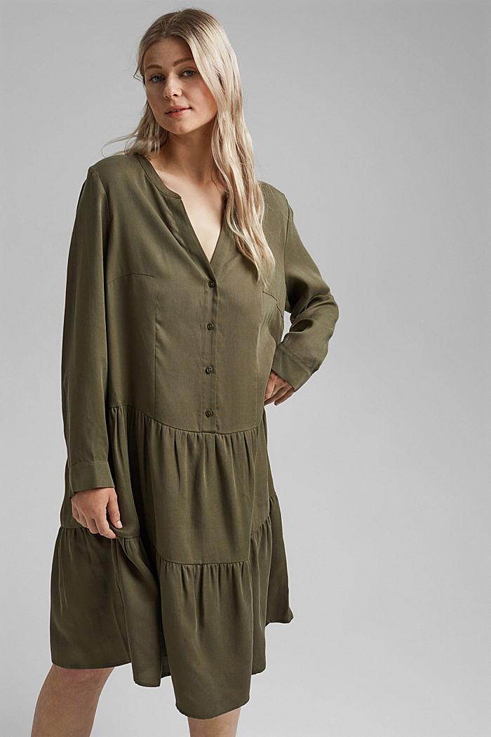 Aus TENCEL™: Kleid mit Volantrock