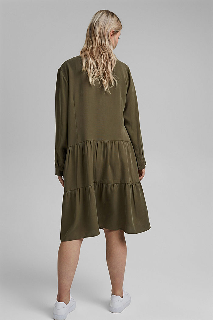 Made of TENCEL™: dress with a tiered skirt, KHAKI GREEN, detail image number 2