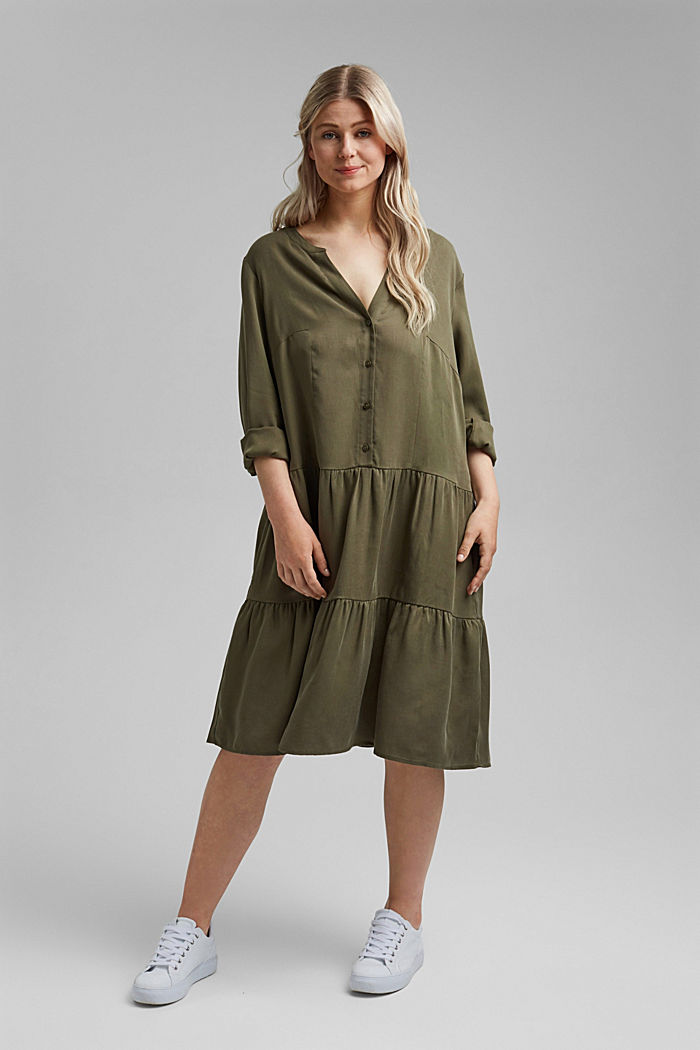 Made of TENCEL™: dress with a tiered skirt, KHAKI GREEN, detail image number 1