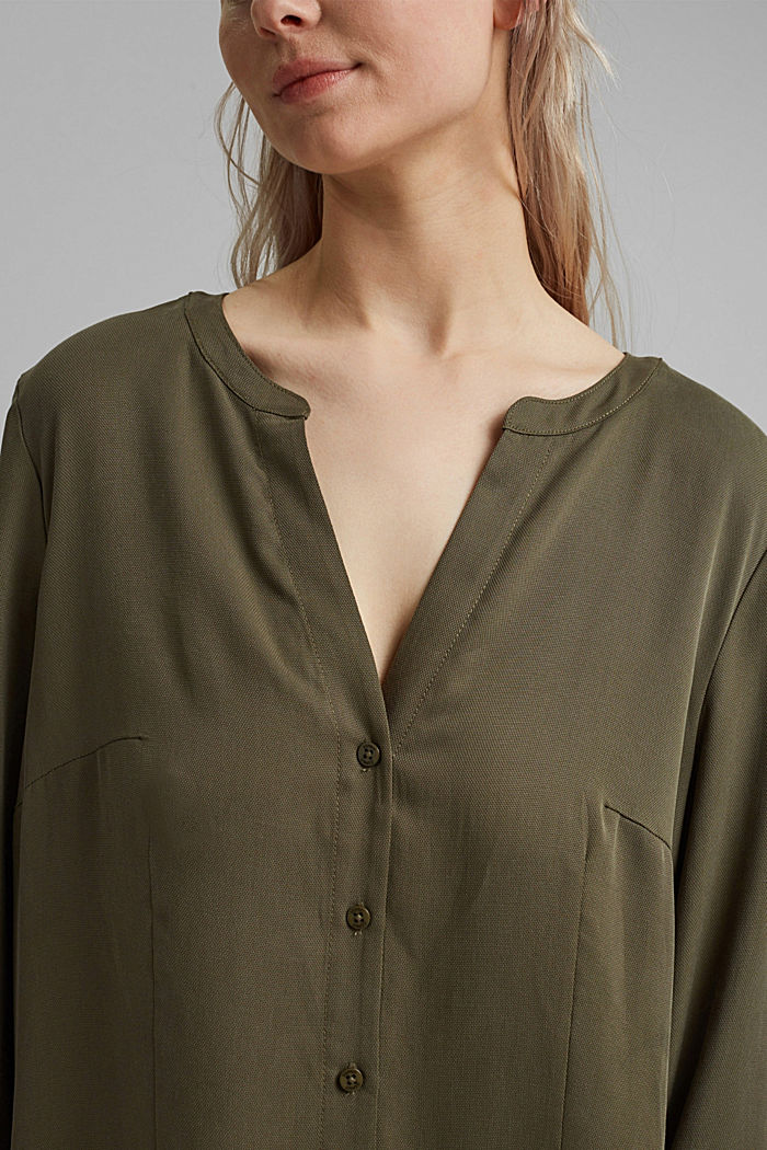 Made of TENCEL™: dress with a tiered skirt, KHAKI GREEN, detail image number 3