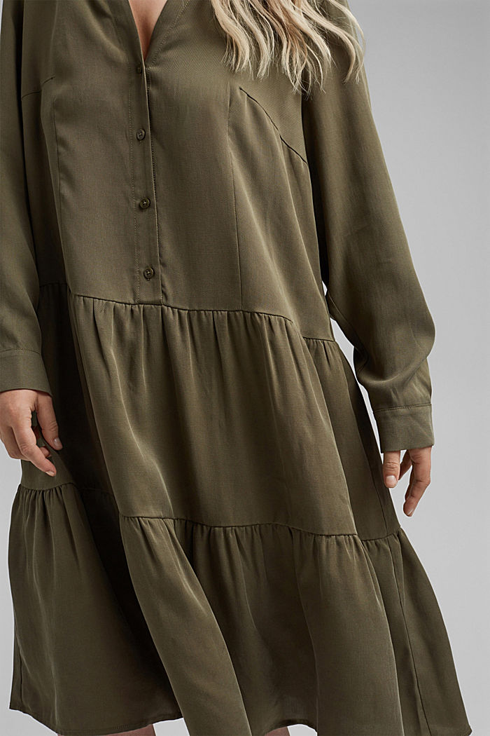 Made of TENCEL™: dress with a tiered skirt, KHAKI GREEN, detail image number 5
