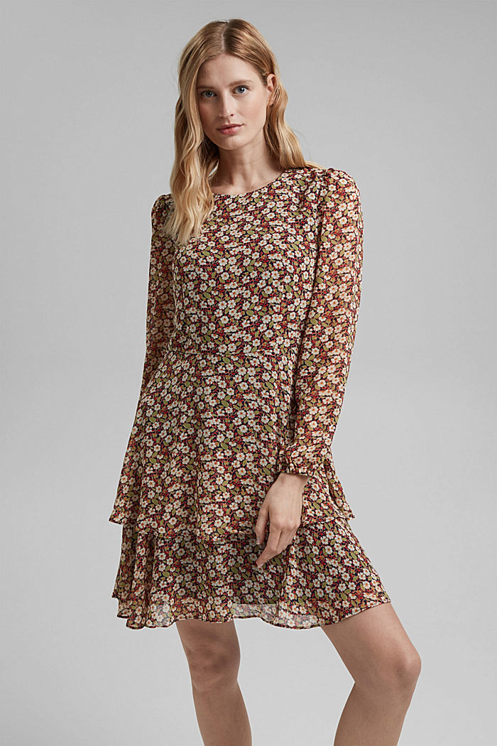 Recycled: Chiffon dress with floral print