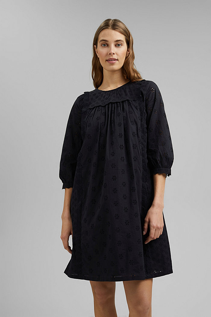 Broderie anglaise dress, 100% organic cotton, BLACK, detail image number 0