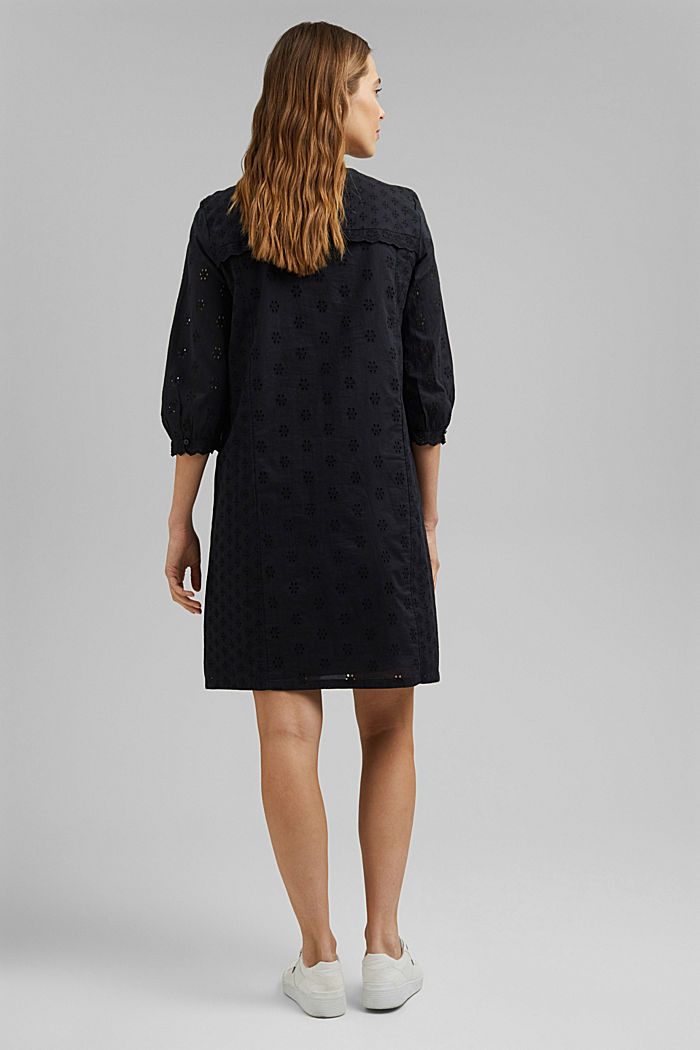 Broderie anglaise dress, 100% organic cotton, BLACK, detail image number 2