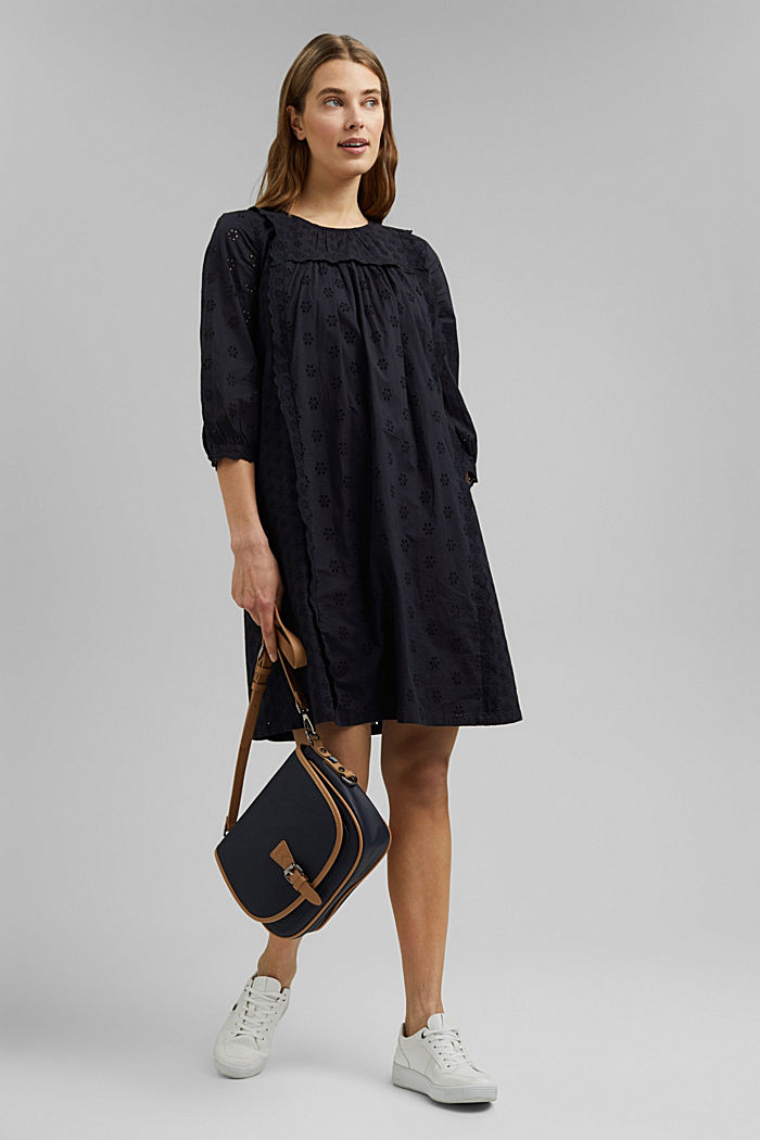 Broderie anglaise dress, 100% organic cotton, BLACK, detail image number 1