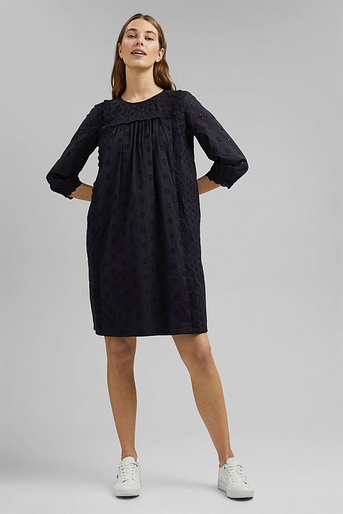 Broderie anglaise dress, 100% organic cotton, BLACK, detail image number 5
