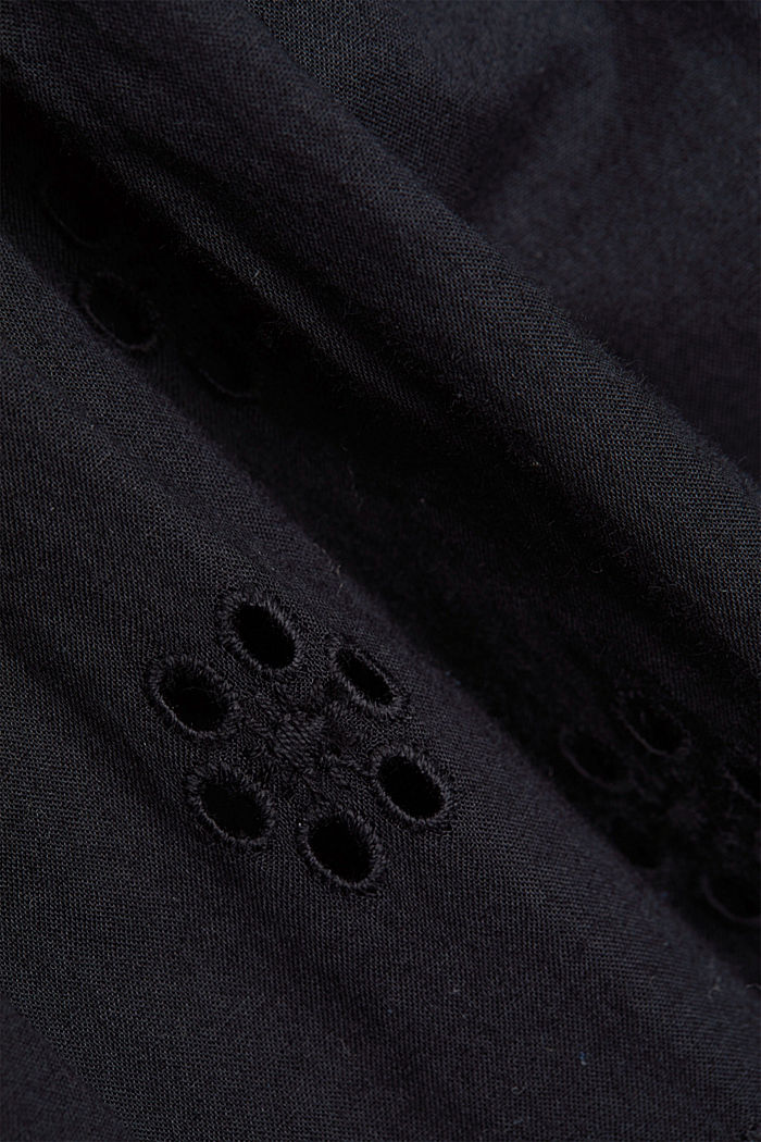 Broderie anglaise dress, 100% organic cotton, BLACK, detail image number 4
