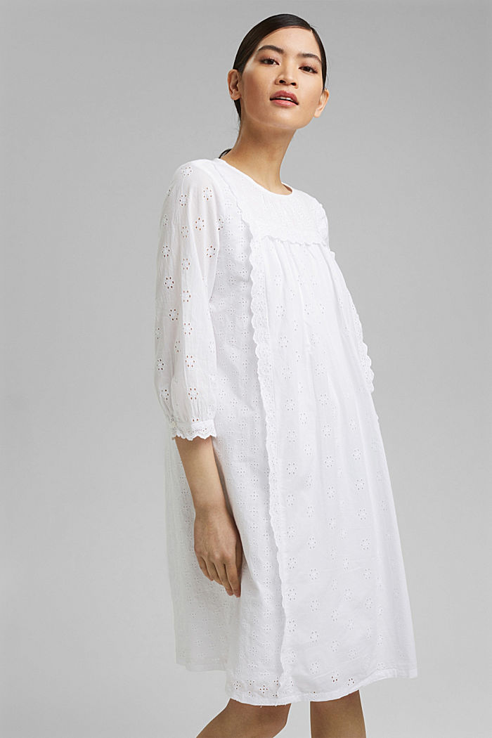 Broderie anglaise dress, 100% organic cotton, WHITE, detail image number 0