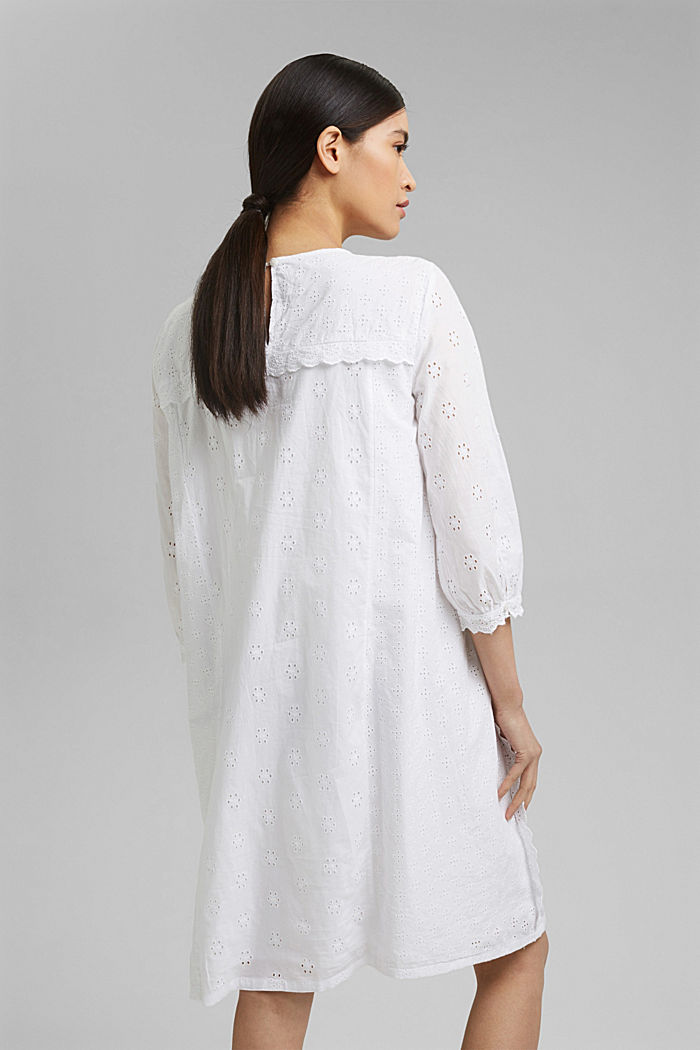 Broderie anglaise dress, 100% organic cotton, WHITE, detail image number 2