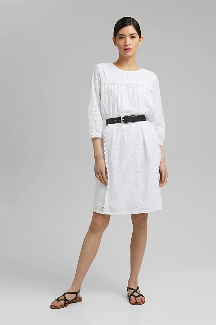 Broderie anglaise dress, 100% organic cotton, WHITE, detail image number 1