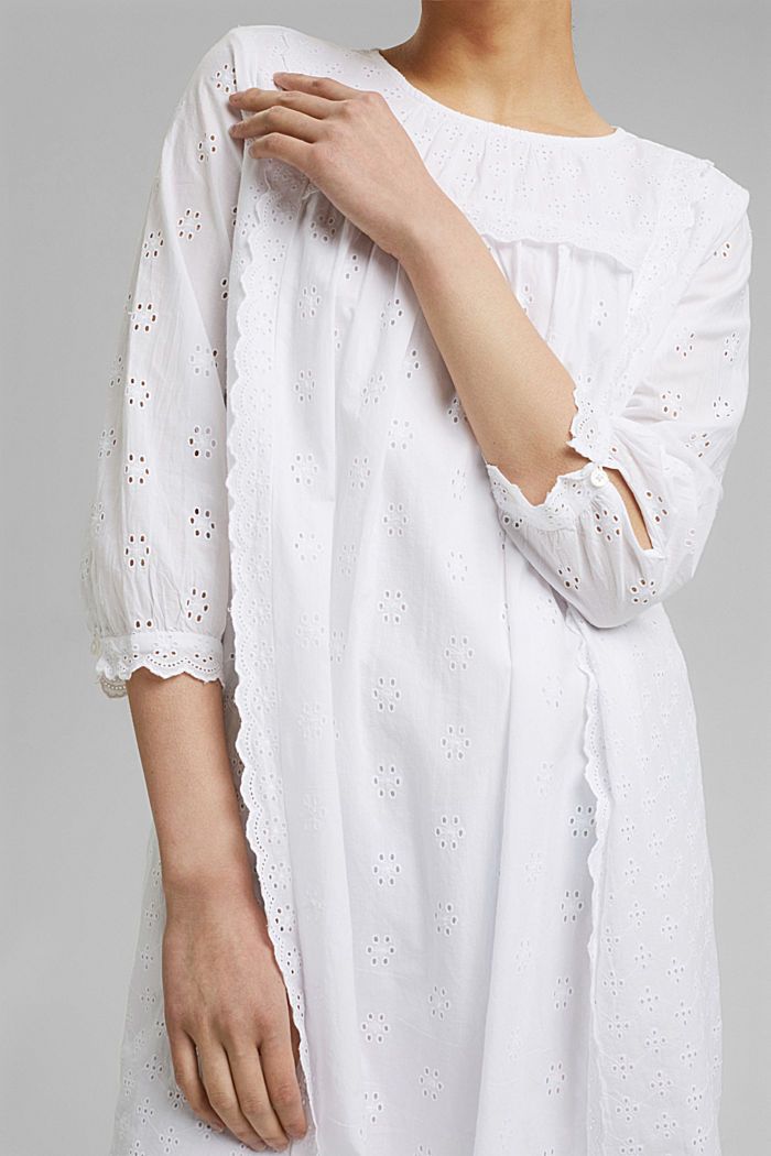 Broderie anglaise dress, 100% organic cotton, WHITE, detail image number 3