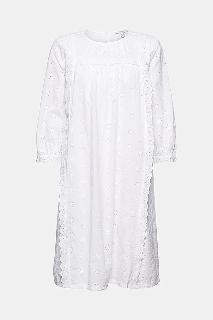 Broderie anglaise dress, 100% organic cotton, WHITE, detail image number 5