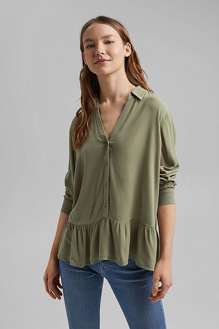 Fließende Hemdbluse mit Volant