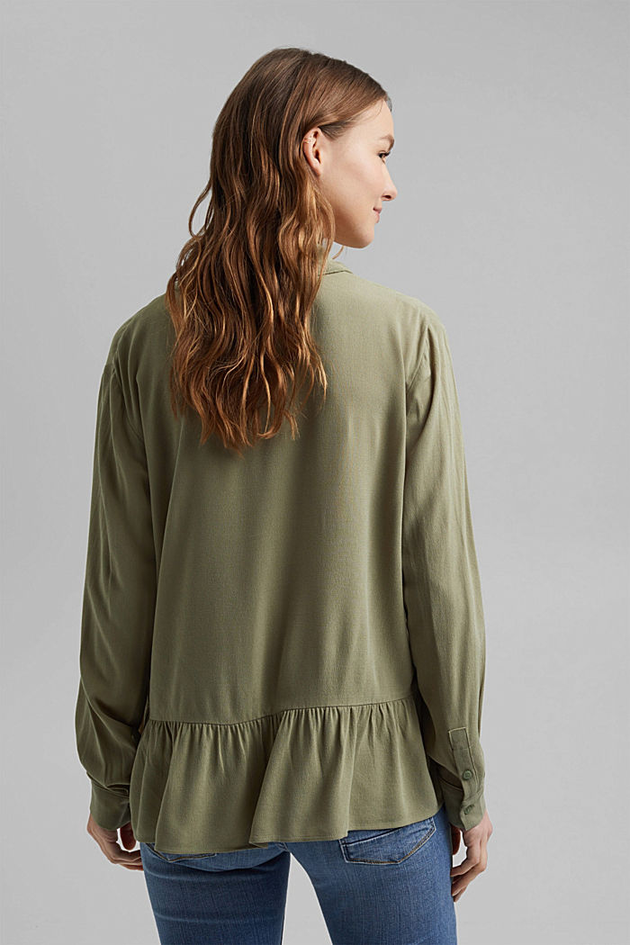 Flowing shirt blouse with a flounce, LIGHT KHAKI, detail image number 3