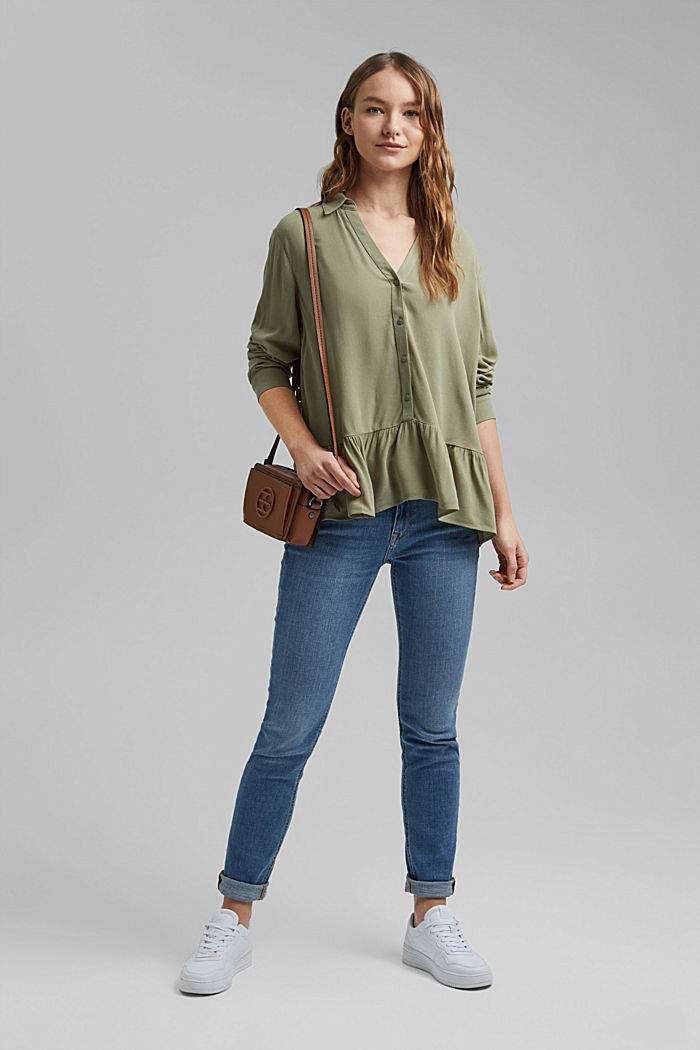 Flowing shirt blouse with a flounce, LIGHT KHAKI, detail image number 1