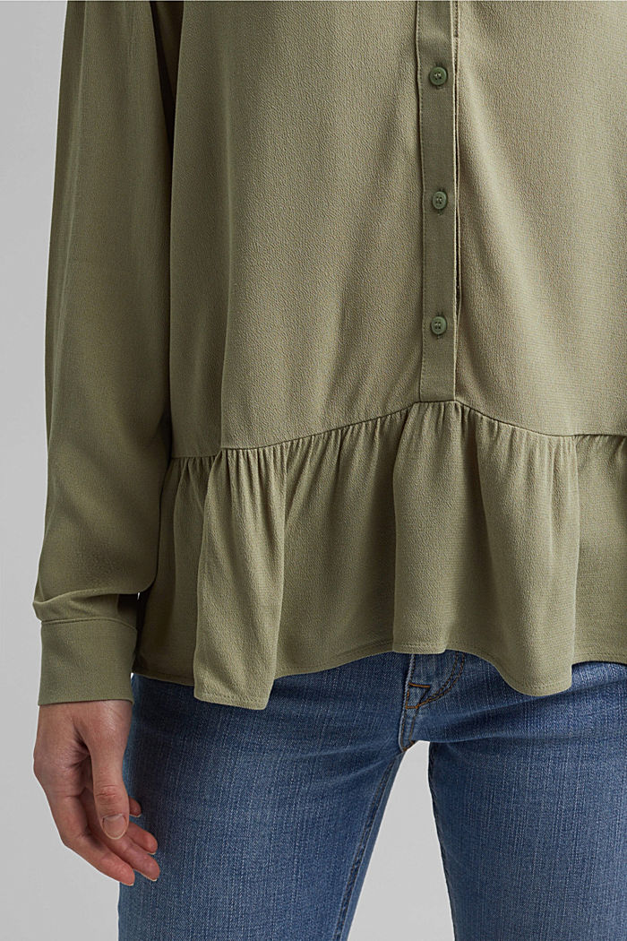 Flowing shirt blouse with a flounce, LIGHT KHAKI, detail image number 2