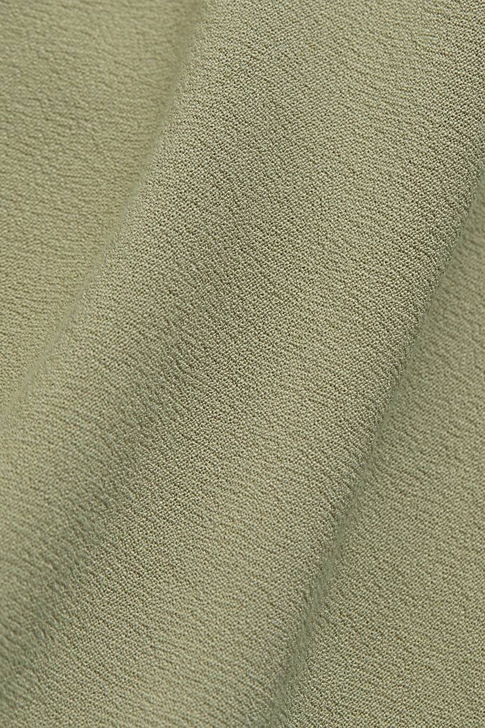Flowing shirt blouse with a flounce, LIGHT KHAKI, detail image number 4