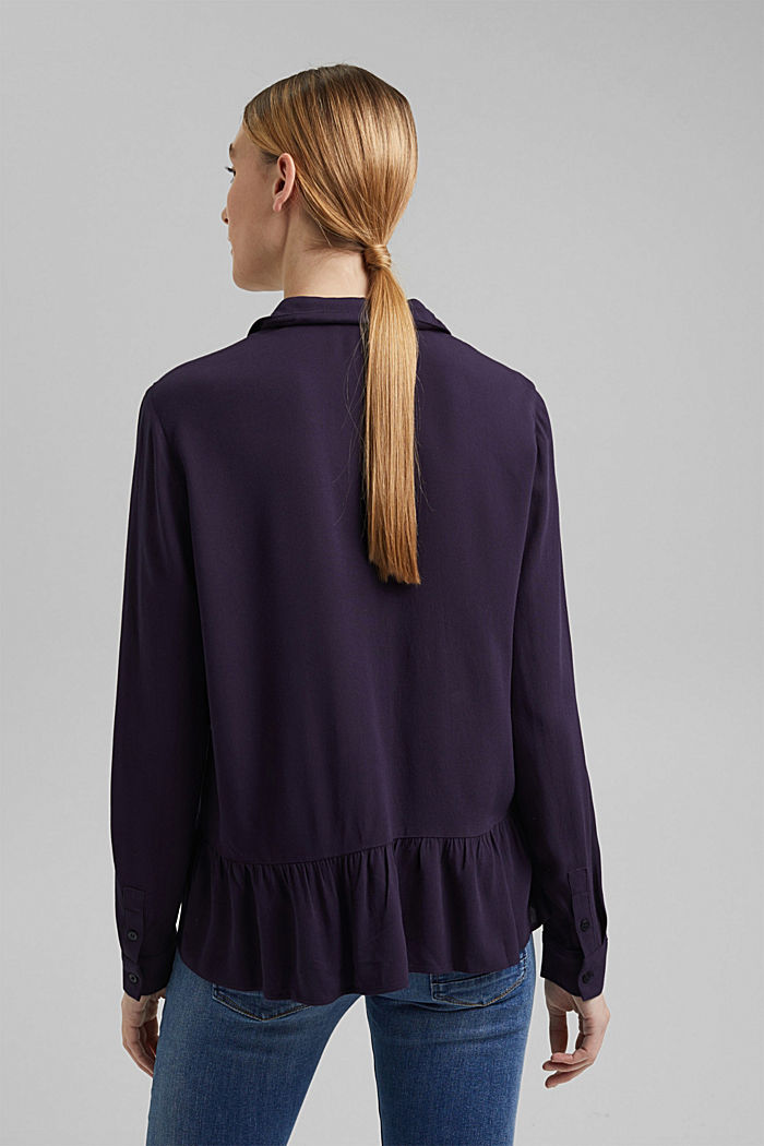 Flowing shirt blouse with a flounce, NAVY, detail image number 3