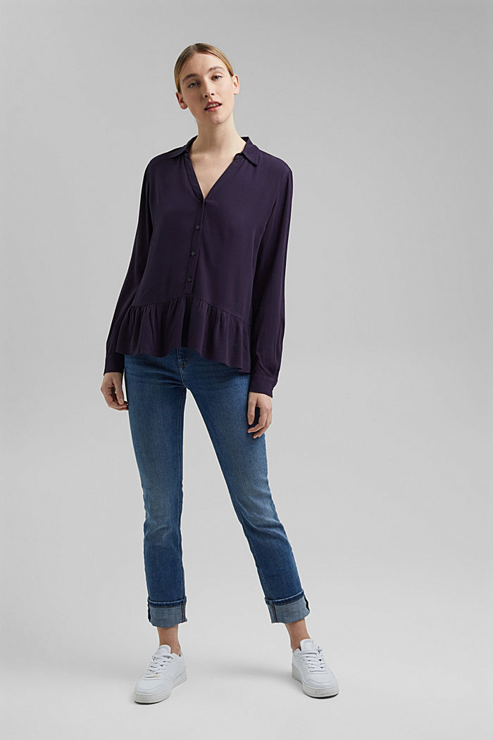 Flowing shirt blouse with a flounce, NAVY, detail image number 1
