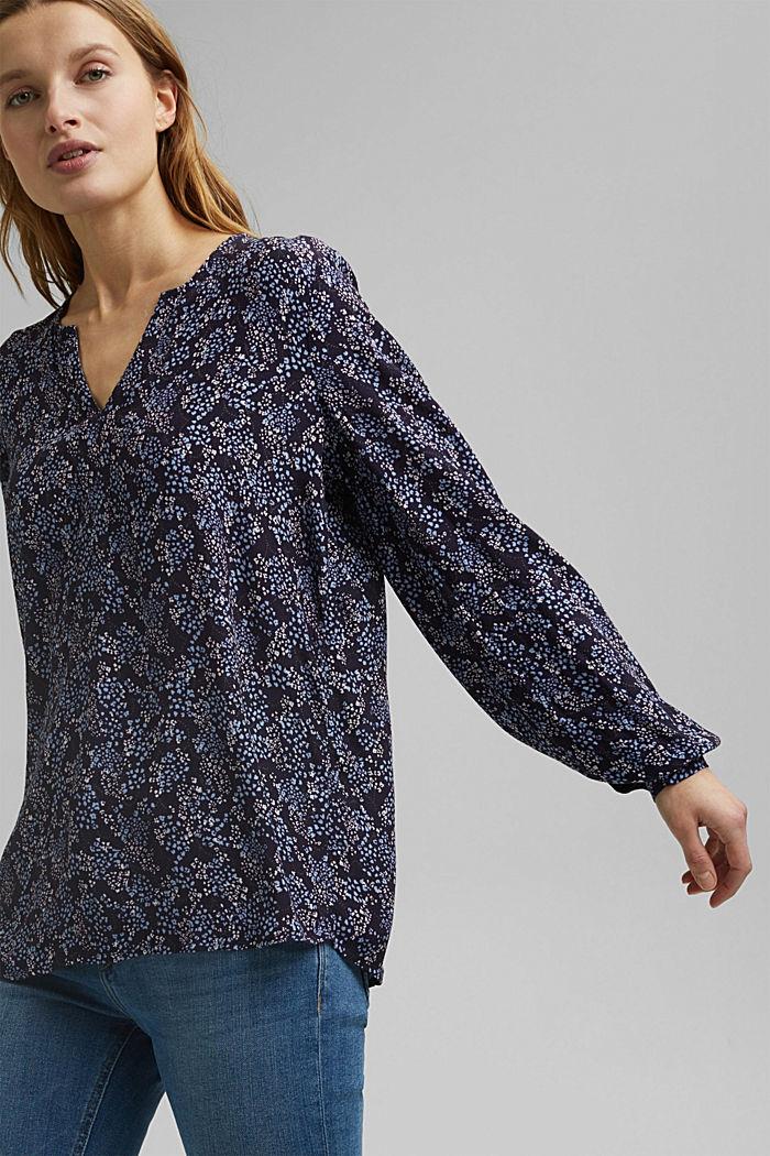 Slip-on blouse made of LENZING™ ECOVERO™, NAVY, detail image number 0