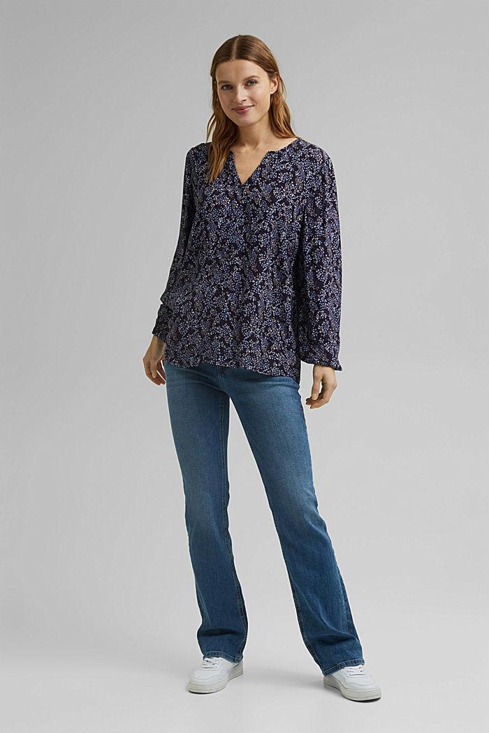 Slip-on blouse made of LENZING™ ECOVERO™, NAVY, detail image number 1