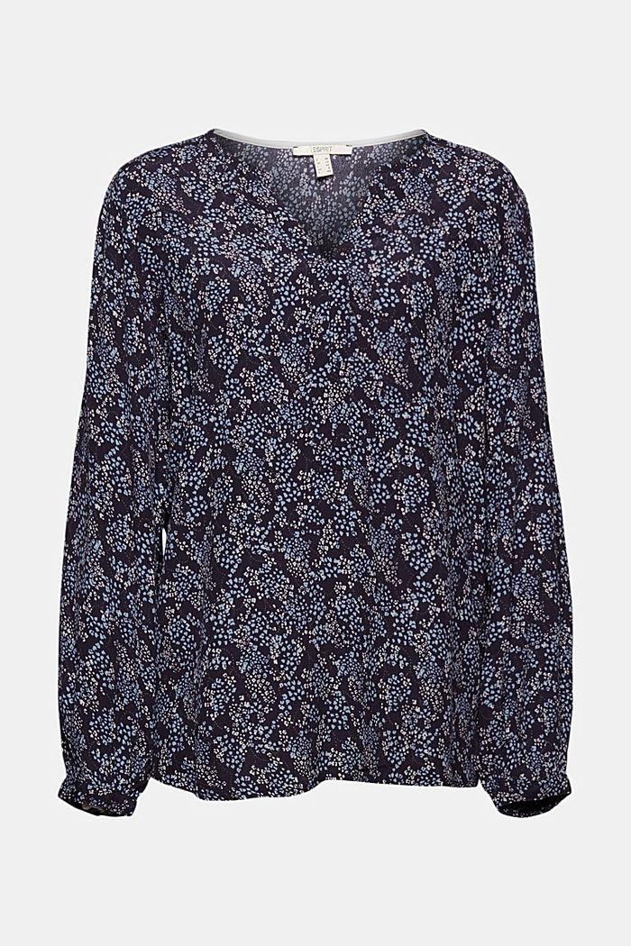 Slip-on blouse made of LENZING™ ECOVERO™, NAVY, detail image number 5