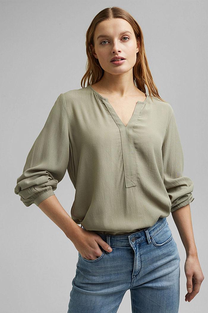 Tunic blouse made of LENZING™ ECOVERO™, LIGHT KHAKI, detail image number 0