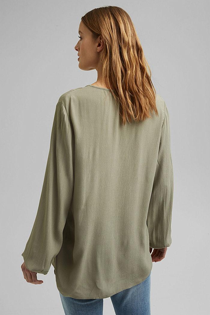 Tunic blouse made of LENZING™ ECOVERO™, LIGHT KHAKI, detail image number 3