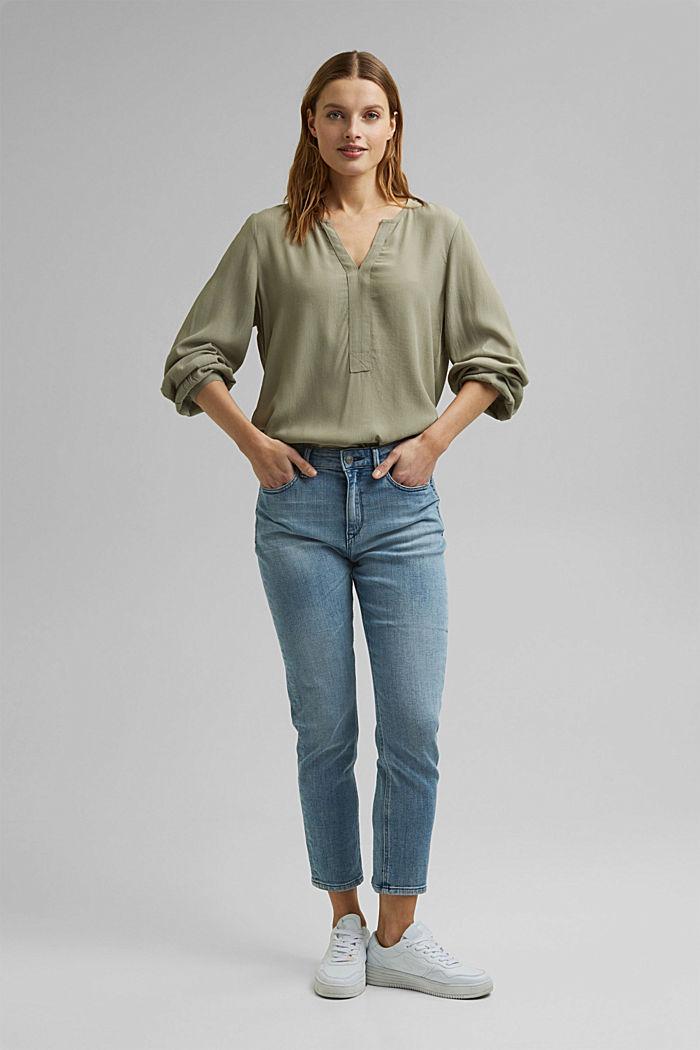 Tunic blouse made of LENZING™ ECOVERO™, LIGHT KHAKI, detail image number 1