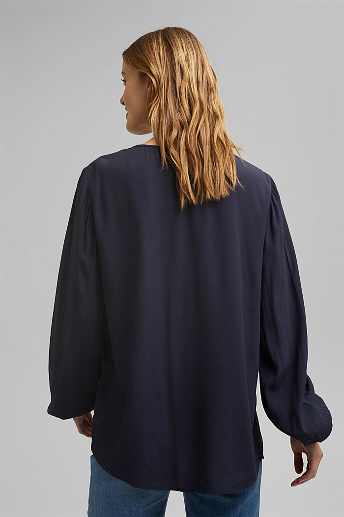Tunic blouse made of LENZING™ ECOVERO™, NAVY, detail image number 3