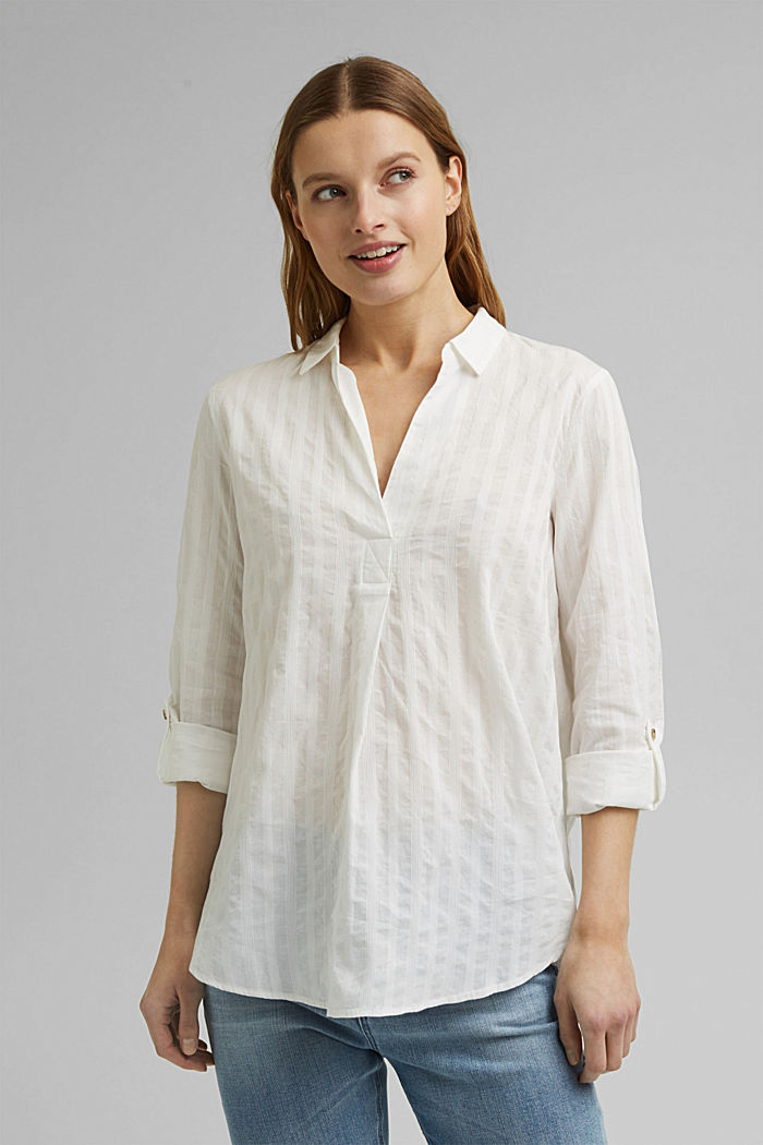 Turn-up sleeve blouse made of 100% organic cotton, OFF WHITE, detail image number 0