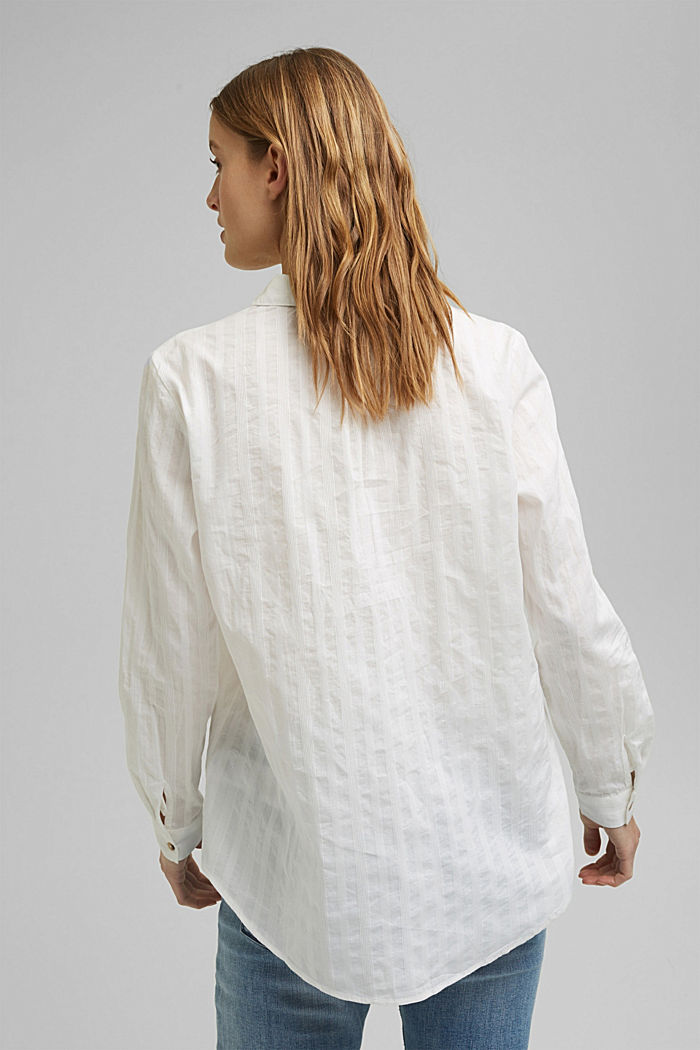 Turn-up sleeve blouse made of 100% organic cotton, OFF WHITE, detail image number 3